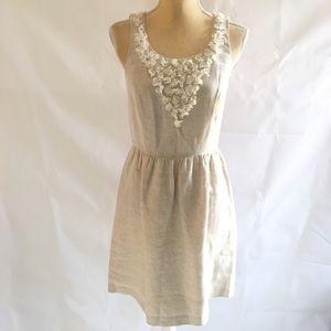 """Kensie Size S Beige """"burlap & Lace"""" Linen Dress"""